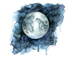 Watercolor Moon Print Painting titled by TheColorfulCatStudio