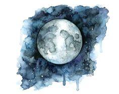 Acuarela de luna impresión titulada por TheColorfulCatStudio