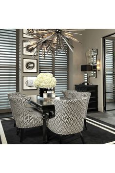 Black And White Dining Room, Black And White Chair, White Dining Chairs, Upholstered Dining Chairs, Black White Bedrooms, Elegant Dining Room, Dining Room Design, Dining Area, Dinning Table
