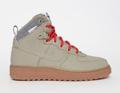 #Nike Air Force 1 Duckboot Beige Red #Fall #Winter #Sneakers