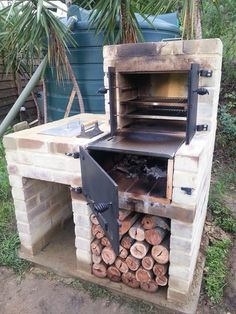 Finally finished my BBQ/Oven/Smoker contraption! I designed myself it as a multi purpose BBQ / smoker / wood fired oven. Backyard Smokers, Outdoor Smoker, Backyard Bbq, Outdoor Fire, Pit Bbq, Brick Grill, Wood Fired Oven, Outdoor Kitchen Design, Backyard Projects