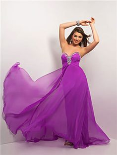 Bright Magenta Gown With Jewel-Trimmed Neckline