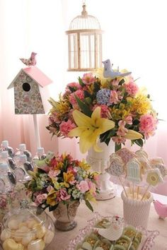 Happy Birthday B, Baby Girl Birthday, Birthday Parties, Spring Theme, Spring Party, Bird Party, Garden Birthday, Baby Shower Princess, Ideas Para Fiestas