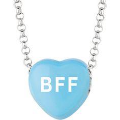 """Sweethearts® Blue Enamel """"BFF"""" Heart on 16"""" Necklace"""