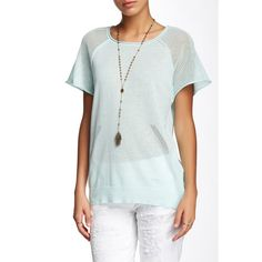 LAmade Raglan Seam Linen Blend Sweater Tee ($19) ❤ liked on Polyvore featuring tops, t-shirts, crew neck tee, white t shirts, see through tops, short sleeve raglan t-shirt and transparent t shirt