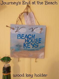 """Custom Made """"BEACH HOUSE KEYS"""" holder.  Each #beach scene on #wood are custom painted with #acrylic paint."""