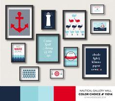 Nautical Nursery Gallery Wall - Color Choice #11014 | Red, Navy, Aqua Blue. Nautical Bedroom Ideas.