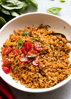 Pile of Tomato Basil Rice in a white bowl garnished with fresh tomato and basil, ready to be served Seasoned Rice Recipes, Rice Cooker Recipes, Cooking Recipes, Healthy Recipes, Easy Recipes, Cooking Pasta, Meatless Recipes, Cooking Games, Tomato Basil Pasta