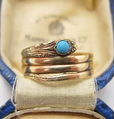 Victorian 14K Gold Persian Turquoise Snake Ring