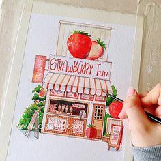 Architecture Drawing Art, Watercolor Architecture, Cool Art Drawings, Art Drawings Sketches, Watercolor Illustration, Watercolor Paintings, Coloring Book Art, Arte Sketchbook, Mini Canvas Art