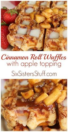 Waffles made out of cinnamon roll dough and topped with a delicious caramel apple topping! These are amazing and so easy! Cinnamon Roll Waffles with Apple Topping - Cinnamon Roll Waffles with Apple Topping on Six Sisters' Stuff Cinnamon Roll Dough, Cinnamon Roll Waffles, Cinnamon Rolls, Apple Cinnamon, Caramel Waffles, What's For Breakfast, Breakfast Dishes, Breakfast Recipes, Dessert Recipes