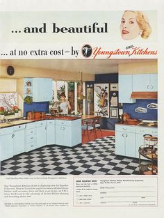 All-Steel Youngstown Kitchens 1950s Ad, Mid Century Home Interior Style Vintage Advertising 2-Page Wall Art Print