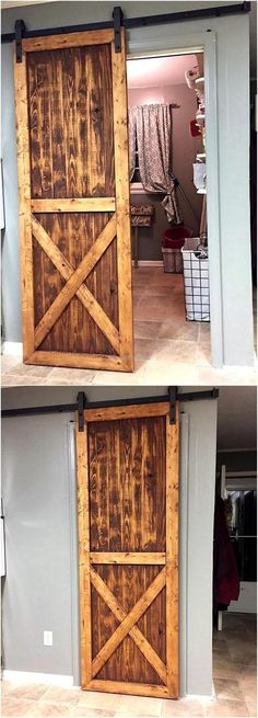 There is no need to spend a lot of money if anyone likes a sliding door for the rooms in the home, arrange the wooden pallets and reshape them into the door. It will not look bad because the pallets can be painted in any color and it doesn't seem like it is not created professionally.