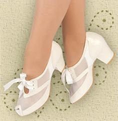Aris Allen White 1940s exact replica of 1940s Peep-Toe Mesh Oxford Swing Dance Shoes 2-in. chunky heel, Blucher construction that allows you to tighten or loosen the laces to control the fit on the middle of your ft., soft, foam footbed.  Available in black & white, pearly white, or al black w/ satin bow-tie laces.  $60 dressy enough to look dressed up but comfy enough to tie.
