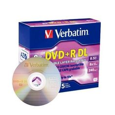Verbatim DVD+R Media, Dual Layer 8.5 GB, 8x Branded, 5 Pack in Jewel Case by Verbatim. $13.99. Preferred by DVD drive manufacturers, Verbatim DVD media continues to set the standard for high-speed disc performance, reliability, and compatibility. DVD+RDouble Layer nearly doubles the storage capacity with two AZO recording layers on a single-sided disc. Certified and supported by the industry high speed Double Layer writers, Verbatim discs are approved for high speed ...