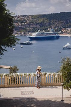 View of the sea from the stunning domain of Villa Ephrussi de Rothschild in St-Jean-Cap-Ferrat, France (French Riviera), that was decorated with flower garlands freshly installed for a wedding party that evening (you can click through to the blog post for more photos)