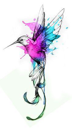 Pin Up Tattoos, Mom Tattoos, Body Art Tattoos, Small Tattoos, Sleeve Tattoos, Hummingbird Tattoo Watercolor, Watercolor Fox Tattoos, Watercolor Bird, Bird Tattoos For Women