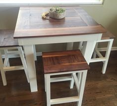 Built in kitchen table bar: bar height table with stools - diy projects. Patio Bar Set, Pub Table Sets, Bar Tables, Dining Sets, Ana White, Tall Kitchen Table, Tall Table, Small Pub Table, Kitchen Pics