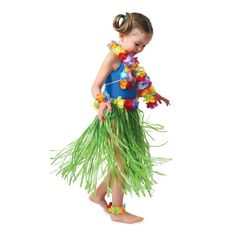 """Hula Child Skirt Set  Hula Child Skirt Set Includes lei necklace lei bikini top (faux flowers on 2 plastic shells plus cord) 2 lei bracelets that double as anklets and a 19"""""""" long plastic grass skirt with 21"""""""" flowered elastic waistband...  Now $12.49 each"""