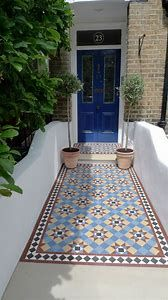 Image result for Mosaic Path Victorian Front Garden, Victorian Front Doors, Victorian Tiles, Victorian Terrace, Victorian Flooring, Hall Tiles, Tiled Hallway, Garden Tiles, Mosaic Garden