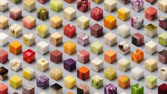 Award-winning design studio Lernert & Sander photographed 98 unprocessed foods cut into precise cubes.