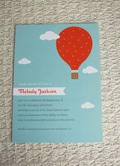 HOT AIR BALLOON  customized printable baby shower by loveardently, $18.00