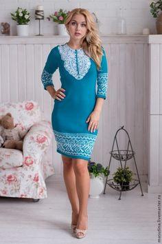 """Купить Платье """"Кружевная фея"""" - тёмно-бирюзовый, бирюзовое платье, теплое платье, жаккардовое платье"""