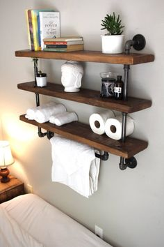 **Please read item description below** This towel bar/shelving unit combo is perfect for any bathroom. The industrial design allows it to be easily integrated into most interior designs or blended…