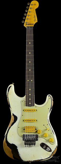 Fender 1960 Stratocaster Heavy Relic White Lightning Olympic White over Faded Black