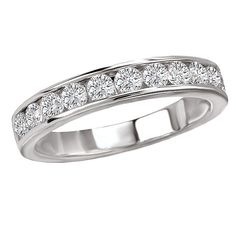 NEW LADIES 14K WHITE GOLD ROUND DIAMOND CHANNEL SET WEDDING BAND RING .75cts. #WithDiamonds