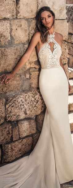julie vino 2018 bridal sleeveless halter keyhole neck heavily embellished bodice elegant sexy fit and flare sheath wedding dress open back long train (59) lv