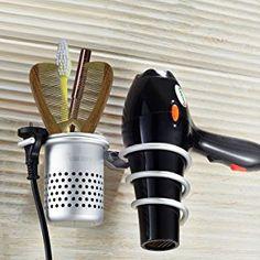 Hair Dryer Holder,Hair Blow Dryer Holder,Hair Dryer Organizer Shelf Rack Stand,Wall Mount with Cup,Bathroom Washroom Accessories Storage Organizer Aluminum Set