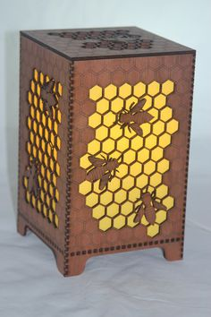 Bee Lamp unique honeycomb & bees shine a lovely warm yellow