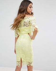 Paper Dolls Bardot Midi Lace Dress with Fluted Sleeve - Yellow