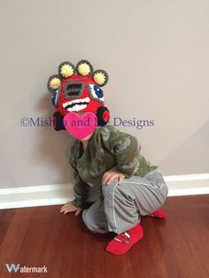 Blaze and the monster machines character inspired handmade crocheted winter hat by mishkaandmedesigns on Etsy