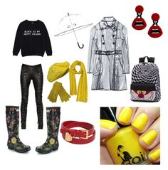 """""""When it rains"""" by boiicosmetics on Polyvore featuring Hunter, Kate Spade, Vans, Yazbukey, Valentino, A.F. Vandevorst and RED Valentino"""