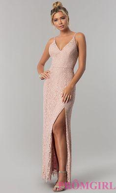 4114d8efb8 Long Taupe Pink Lace V-Neck Prom Dress with Slit