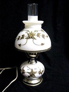 Vintage White Milk Glass Brass Hurricane Electric Table Lamp 2 way light