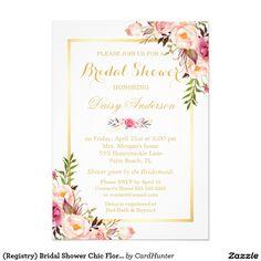 (Registry) Bridal Shower Chic Floral Golden Frame