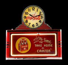 Original 1930 Coca-Cola Neon Sign / Clock
