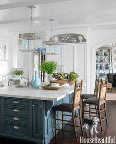 Love the kitchen! House of Turquoise: Lee Ann Thornton Interiors Blue Kitchen Island, All White Kitchen, New Kitchen, Kitchen Dining, Kitchen Decor, Kitchen Ideas, Awesome Kitchen, Kitchen Islands, Island Blue