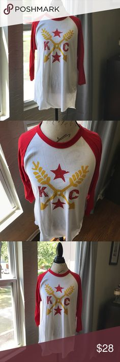 KC Baseball Tee Light weight, white KC baseball tee American Apparel Tops Tees - Short Sleeve
