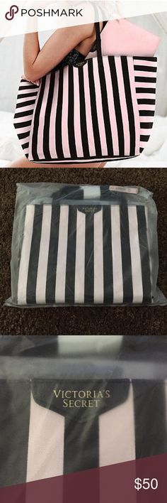 NWT Victoria Secret Tote NWT in bag, never opened! Victoria Secret Tote with zipper case inside! Colors are black and light pink! Retails for $99!! As shown in 1st picture! Trade Value $70 Victoria's Secret Bags Totes
