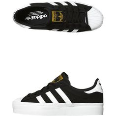 Adidas Originals Superstar Rize Platform Shoe ($69) ❤ liked on Polyvore featuring shoes, sneakers, adidas, black white gold, black white striped shoes, genuine leather shoes, real leather shoes, striped shoes and adidas originals