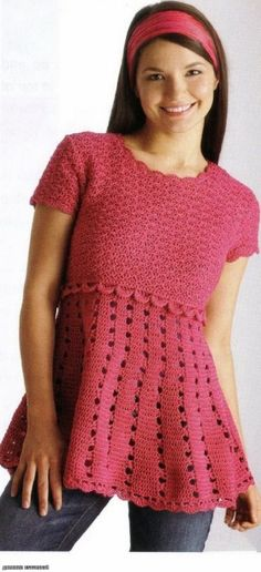 Dark Pink Tunic free crochet pattern by Kathy324