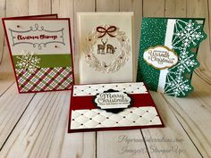 Here are the cards we made in my Christmas in July classes this past Saturday. I will feature two of these cards in detail this week, and the other two will be featured next week. This first card is the elegant Seasonal Wreath card. Stampin Up Christmas, Christmas In July, Christmas Carol, Snowflakes, Projects To Try, Gift Wrapping, Seasons, Holiday Decor, Paper