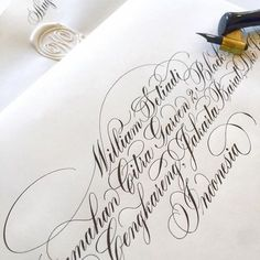 Had to do a little finagling, but finally got that address to fit Calligraphy Tutorial, Calligraphy Drawing, Copperplate Calligraphy, Calligraphy Handwriting, Calligraphy Alphabet, Penmanship, Cursive, Flourish Calligraphy, Calligraphy Envelope