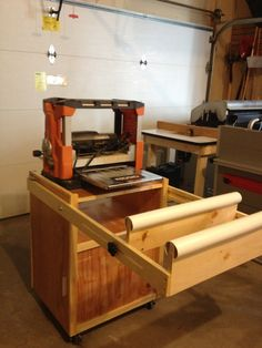 mobile planer cart with drawer and outfeed arms.
