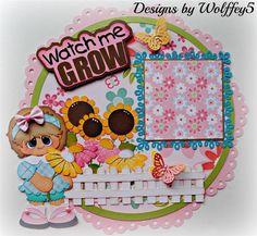 ELITE4U GIRL GARDEN LAYOUT paper piecing premade scrapbook page album  WOLFFEY5