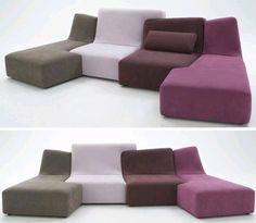 Love Seat + Sofa Set = Colorful Puzzle-Piece Couch Designs